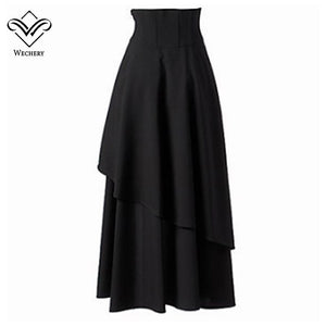 Long Maxi Steampunk Skirts Punk Midi Gothic Corset Skirt Elasticity Pleated Women Skirts Tulle Party Skirts