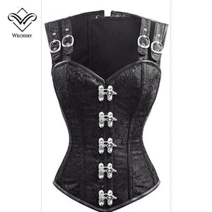 Steampunk Corset Gothic Clothing Corsets Bustiers Gothic Black Strap Corset Slimming Vest 12 Steel Boned Bustier Top