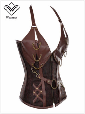 Vintage Women Corset Steampunk Overbust Bustiers Body Shapewear Leather Bodice Plus Size Leather Corselet Retro