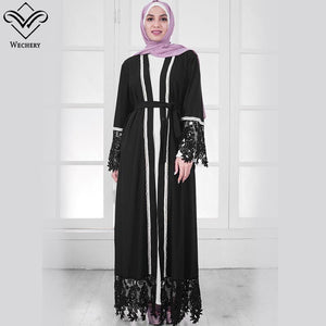 White Black Muslim Dress Robe Hijab Islam Lace Floral Abaya Women Maxi Islamic Clothing Eid Mubarak Garments