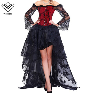 Women Steampunk Corset Sets Long Sleeve Lace Corselet Ddress Party Wedding Out Of Shoulder Bustiers Korset Suit