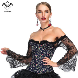Women Steampunk Corset Long Sleeve Lace Corselet Lace Up Bustiers Korset Posture Party Club Wedding Plus Size
