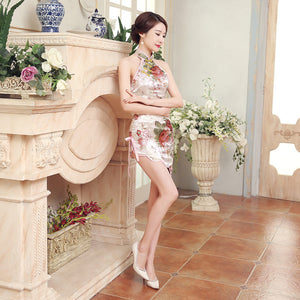 White Chinese Traditional Women Dress Cheongsam Silk Satin Bodycon Sleeveless Short Flower Backless Shoulder Off Qipao