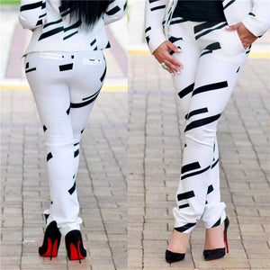 White Pant Suit Work Two Piece Outfits Autumn Winter Print Blazers Jackets Trouser Sets Ladies Formal Bussiness Suits