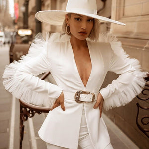 White Short Suit Women Two Piece Outfits Winter Autumn Ruffle Blazer Top Short Set Office Suit Set Women 2 Piece Set