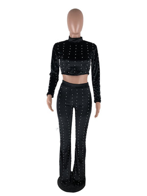 Winter Velvet Suit Women Long Sleeve Pearl Embellished Crop Top Pant Set Club Party 2 Piece Outfits Ladies Chic Sweat Suits