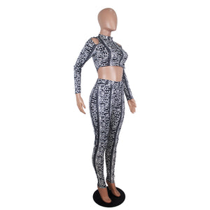 Winter Women Set Full Sleeve Letter Print Tracksuit Tops Pants Suit Two Piece Set Night Club Sportswear Fitness Outfits GL9205