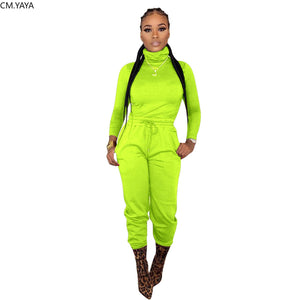 Winter Women Set Full Sleeve Turtleneck Tracksuit Tops Pants Suit Two Piece Set Night Club Sportswear Fitness Outfits GL8160
