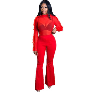 Winter Women Sets Full Sleeve Mesh Ruffles T-Shirts +Pants Suits Tracksuits Two Piece Set Night Club Fitness Outfits GL3049
