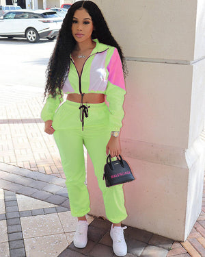 Woman Tracksuit 2 Pieces Zipper Up Long Sleeve Splicing Trench Top Pants Suit 2Pcs Sporty Set Casual Outfit Thin Light Sunscreen