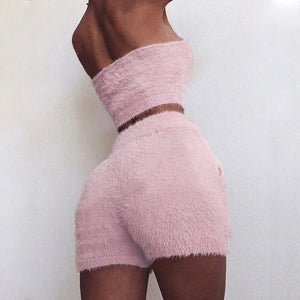 Women 2 Piece Fall Winter Warm Clothes Set Casual Pink Black Bodycon Two Piece Wrap Chest Crop Top Shorts Bandage Party Set
