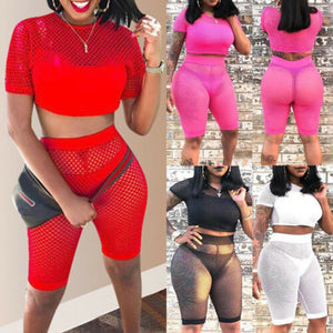 Women 2 Piece Hollow Mesh Crop Top Shorts Set Jumpsuit Romper Short Sleeve Casual Summer Party Club Beach Clothes Set