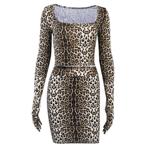 Women 2 Piece Leopard-Print Club Outfits Long Sleeve Gloves Crop Top Sexy Step Short Mini Skirt Vintage Party Dress Set Clothing