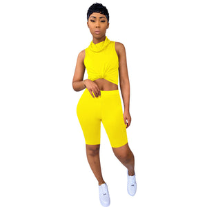 Women 2 Piece Set 2020 Summer Short Sleeve Crop Top Shorts Sportswear Women Sets Casual Fitness Tracksuit Outfit