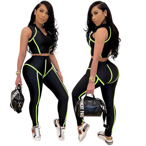 Women 2 Pieces Set Fitness Tracksuit Crop Top Leggings Set Two Piece Casual Sports Set Summer Clothes Outfits 2020