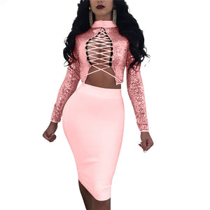 Women Autumn Sexy Two Piece Dresses Long Sleeve Criss Cross Back Sequin Crop Top Skirt Set Party Clubwear 2 Piece Outfits