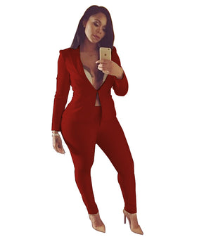 Women Casual Slim Party Clubwear Jacket+Trousers Uniform Pant Suits Formal Office Work Sets Skinny 2 Pieces Business Ol Outfits