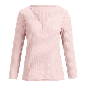 Women Casual Solid VNeck Long Sleeve Tops Shirt Summer Fall Comfy Fashion TShirt Ladies #1022 A#487