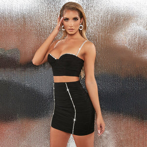 Women Diamond Sexy Party Two Piece Set Backless Crop Top Mini Skirts Summer Outfit Double Layer 2 Piece Set Night Club 2020