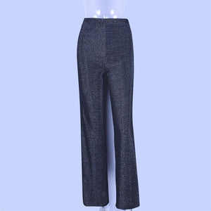 Women High Waist Pants Solid Glitter Sparkle Bling Trousers Autumn Winter Fashion Office Lady Black Wide Leg Cargo Pants