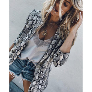 Women Jackets Vintage Snake Print Coats Fashion Turn Down Collar Long Sleeve Outerwear Jackets #1023 A#487