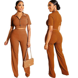 Women Knit Two Piece Set Top Pants Summer Women Tracksuit 2 Piece Set 2020 Button Crop Top Long Pants Casual Outfits Sets
