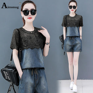 Women Lace Patchwork T Shirt Denim Shorts Suits 2020 Summer Vintage Drawstring Tops Sets Woman Two Piece Set