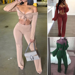Women Ladies 2 Piece Crop Top Jumpsuit Long Sleeve Cut Out Playsuit Tracksuit Lady Sexy Brief Jumpsuits Two Pieces
