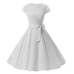 Women 50S Retro Vintage Dress Polka Dots Short Sleeve Summer Dress Rockabilly Swing Party Dress