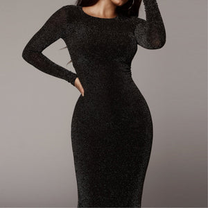 Women Long Sleeve Glitter Sparkle Bling Dresses Autumn Winter Women Bodycon Christmas Party Dress Sequins Vestido