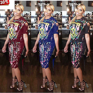 Women Short Set Summer ONeck Hole Tassel Bandage Short Sleeve Tee Top Haut Femme Tops Skirt Bodycon Midi Skirts Suits 2Pcs Set
