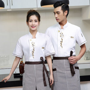 Women Short Sleeve Blouse Chef Uniform Restaurant Kitchen Bakery Dining Hall Wear Men Shirt Cook Costumes Breathable Tops