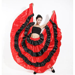 Women Spanish Long Style Belly Dance Costumes Flamenco Skirt Stage Wear Performance Party Dress Red Black Skirt