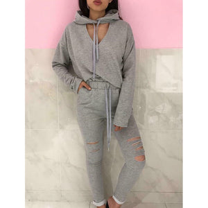 Women Spring Autumn Two Piece Set Workout Run Jogging Tracksuit Clothes Slim Pant Suit Long Sleeve Hooded Hoodies Outfits 2019