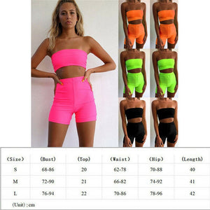 Women Summer Strapless Crop Top Vest Shorts Ladies Two Pieces Set Jumpsuit Outfit Solid Color Elastic Waist Clothes Set