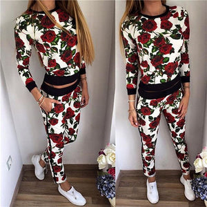 Women Tracksuits 2020 Autumn Winter Two Piece Set Long Sleeve Rose Printed Crop Top + Pant Set Leisure Suit Fashion Sweat Suits