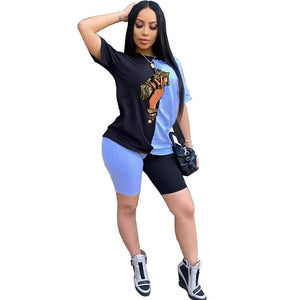 Women Two Piece Outfits Summer Set Lounge Wear Casual Tracksuit Joggers Sportswear Top Biker Shorts 2 Piece Matching Sets