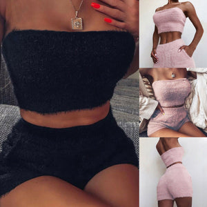 Women Two Piece Set Autumn Winter Crop Top Short Pant Set Bodycon Party Club Outfits Plush Home Wear Fashion Solid Clothes