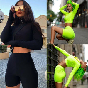 Women Two Pieces Jogging Gym Sports Lady Sweatshirt Short Pants Suit Zipper Turn Down Collar Solid Color Sports Clothes
