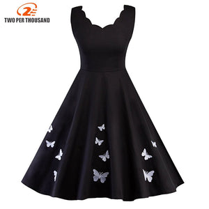 Women Vintage Embroidery Butterfly Robe Pin Up Dress Summer Retro Rockabilly Swing Dresses Tunic Vestidos