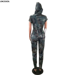 Women Short Sleeve Hooded Camouflage Pencil Long Leggings Jumpsuit Fashion Active Wear Romper Playsuits GLHG5159