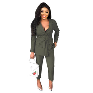 Women's Double Breasted Blazer Suit Fashion Formal Pant Suits For Work 2 Piece Set Jacket Pencil Pants Ladies Trouser Suits