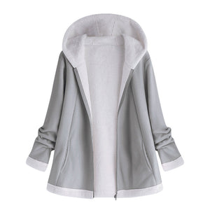 Women'S Fashion Solid Winter Pocket Zipper Long Sleeve Curved Hem Longline Faux Fur Fleece Hoodie Tops Coat #1219 487733G