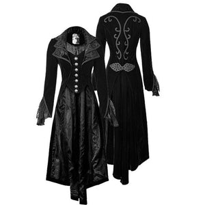 Women'S Fashion Winter Black Retro Long Medieval Coat Fashion Gothic Medieval Cosplay Custome Party Overcoat Outwear