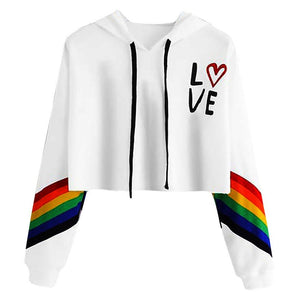 Women'S Long Sleeve Rainbow Letter Print Short Pullover Hoodie Sweatshirt Blouse Tops #1102 A#487