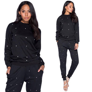 Women's Loungewear Tracksuits Two Piece Set Pullover Hoodies Sweatshirt Top Pants Beading 2 Piece Sets Leisure Sweat Suits