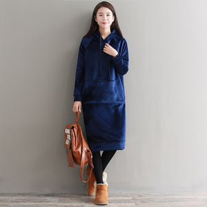 Women Winter Velour Long Hoodie Dress Sudaderas Mujer Thick Warm Fleece Pullover Big Size Hooded Oversized Jumper B80709