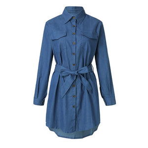 Casual Button Down Denim Dress Ladies Belted Jeans Long Tops Shirt Mini Dress #1102 A#487