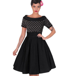 Vintage Rockabilly Midi Dresses Summer Polka Dot Tunic Pinup Wear To Work Office Casual Party A Line Skater Dress
