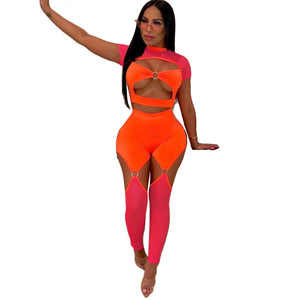 Sexy Two Piece Sets 2020 Summer 2 Piece Club Set Women Hollow Out Crop Top Bodycon Mesh Pant Set Neon Beach Party Outfit